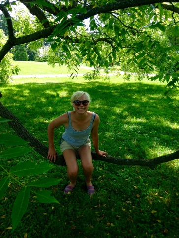 Allison sitting on a branch at Morton Arboretum