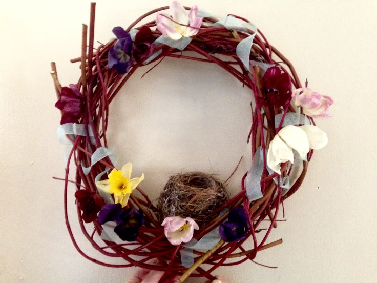 Spring Wreath with Pressed Flowers